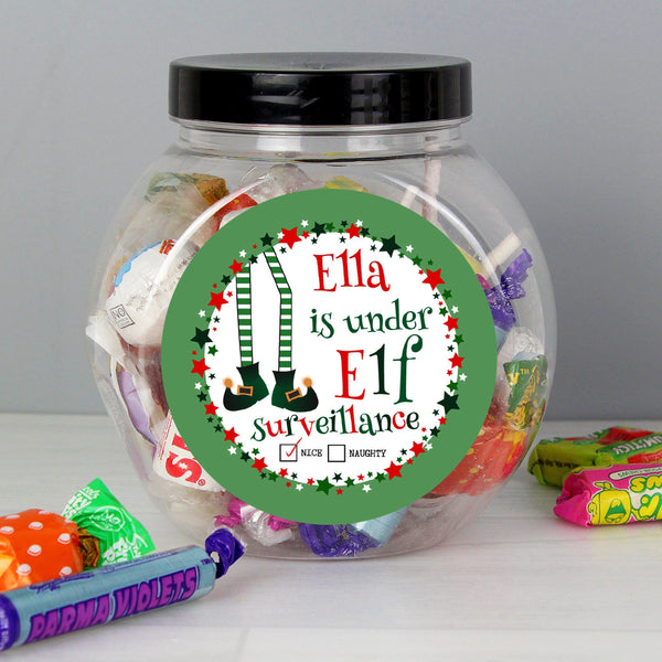 Personalised Elf Surveillance Sweet Jar