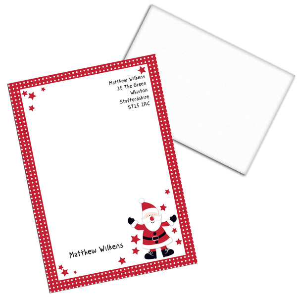 Personalised Spotty Santa Stationery Set