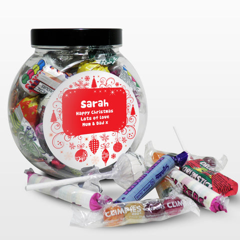 Personalised Christmas Round Sweetie Jar