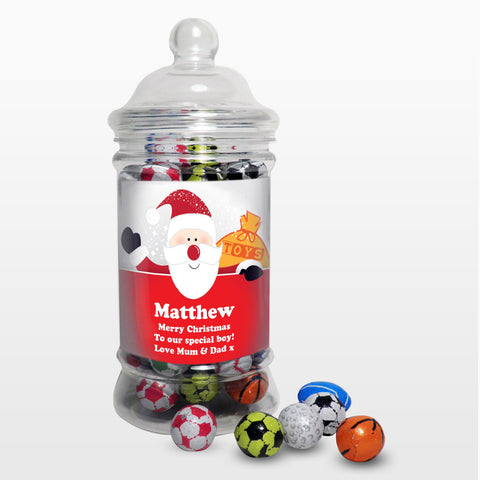 Personalised Santa Traditional Milk Chocolate Balls Jar