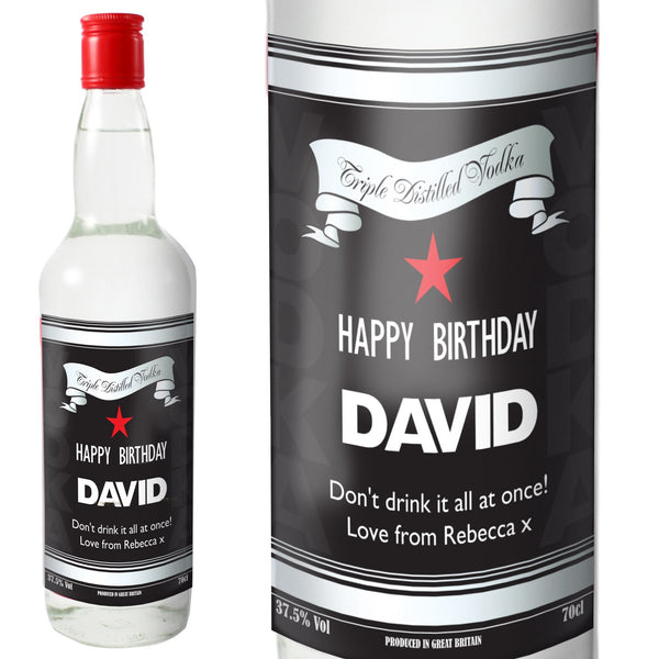 Personalised Classic Black & Silver Vodka with Gift Box