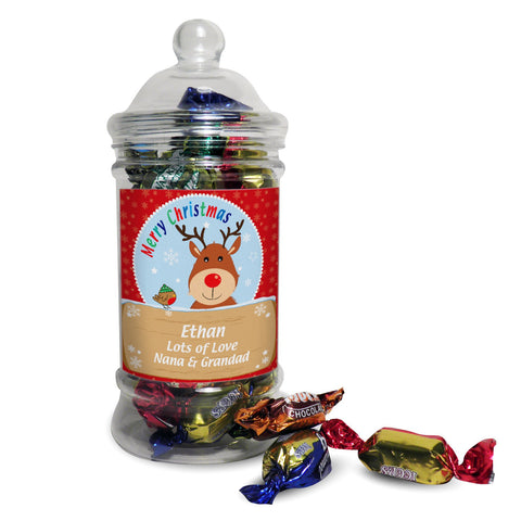 Personalised Rudolph Toffee Jar