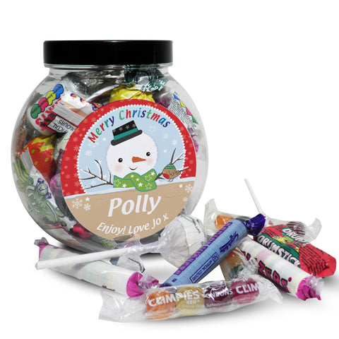 Personalised Snowman Sweet Jar