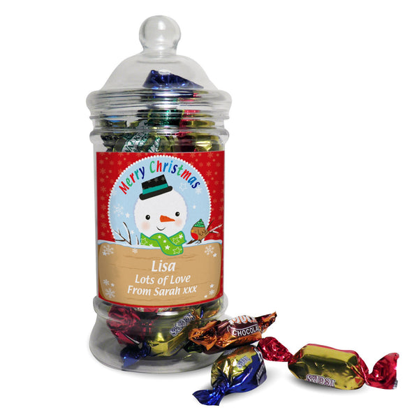 Personalised Snowman Toffee Jar