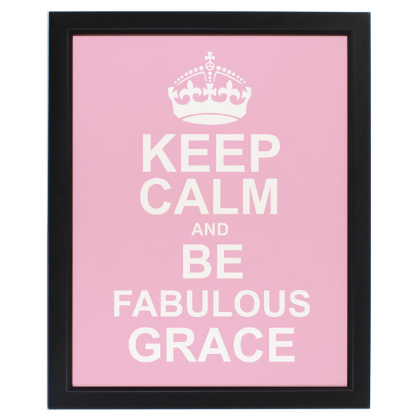 Personalised Keep Calm Pink Framed Print