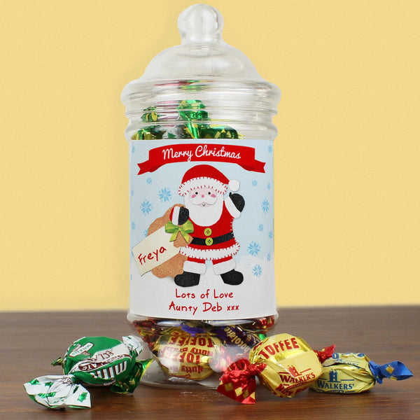 Personalised Felt Stitch Santa Toffee Jar