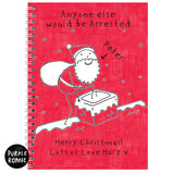 Personalised Purple Ronnie Christmas Male A5 Notebook