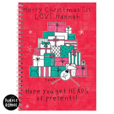 Personalised Purple Ronnie Female Christmas A5 Notebook
