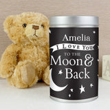 Personalised To the Moon and Back... Teddy in a Tin