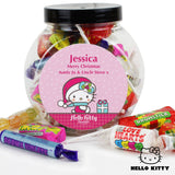 Personalised Hello Kitty Pink Christmas Sweets Jar