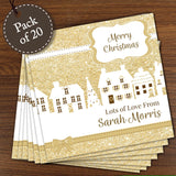 Personalised Festive Village Pack of 20 Cards