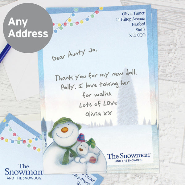 Personalised The Snowman and the Snowdog Stationery Set