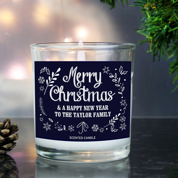 Personalised Christmas Frost Scented Jar Candle