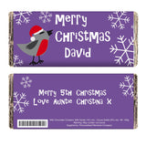 Personalised Christmas Robin Milk Chocolate Bar