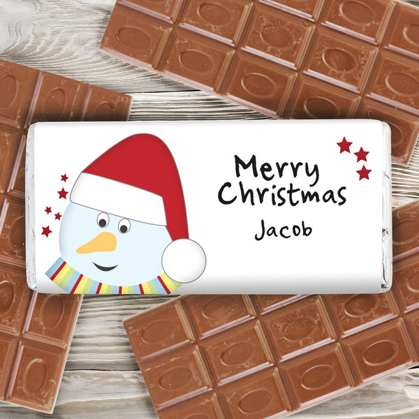 Personalised Snowman Milk Chocolate Bar