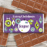 Personalised Retro Bauble Milk Chocolate Bar