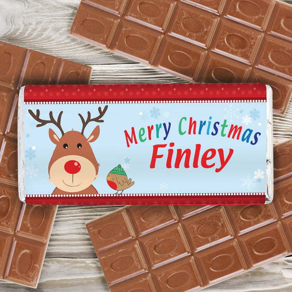 Personalised Rudolph Milk Chocolate Bar