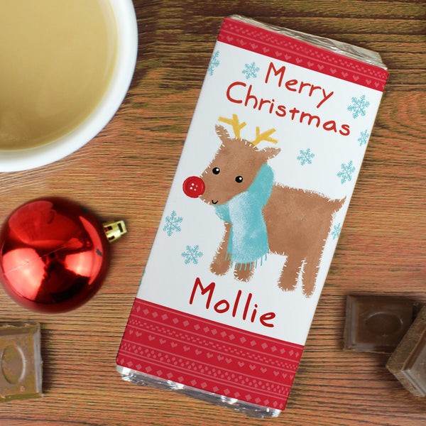 Personalised Felt Stitch Reindeer Milk Chocolate Bar