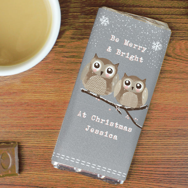 Personalised Woodland Owl Christmas Milk Chocolate Bar