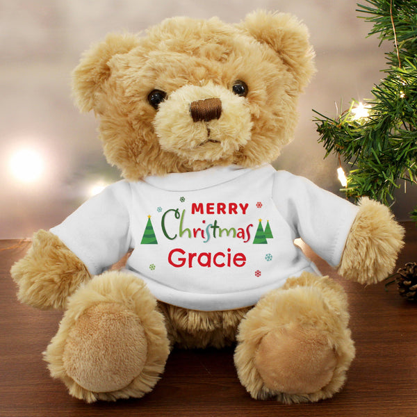 Personalised Merry Christmas Teddy Bear