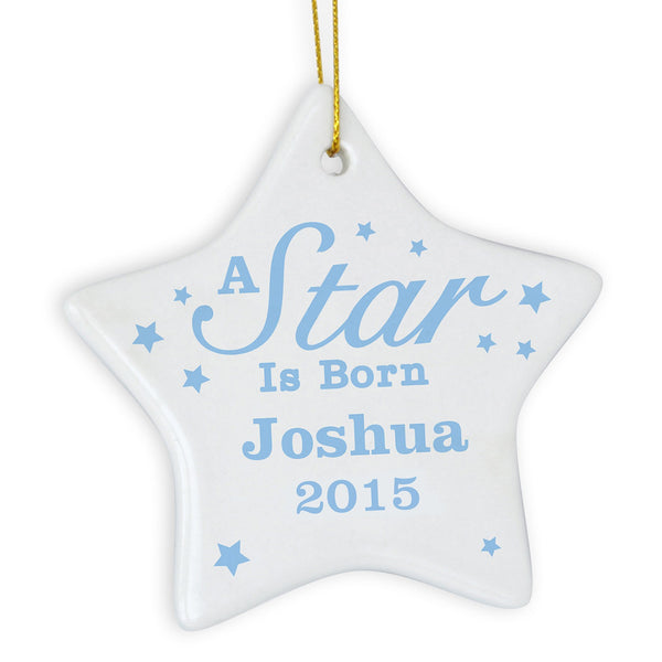 Personalised Blue 'A star Is Born' Ceramic Star Decoration