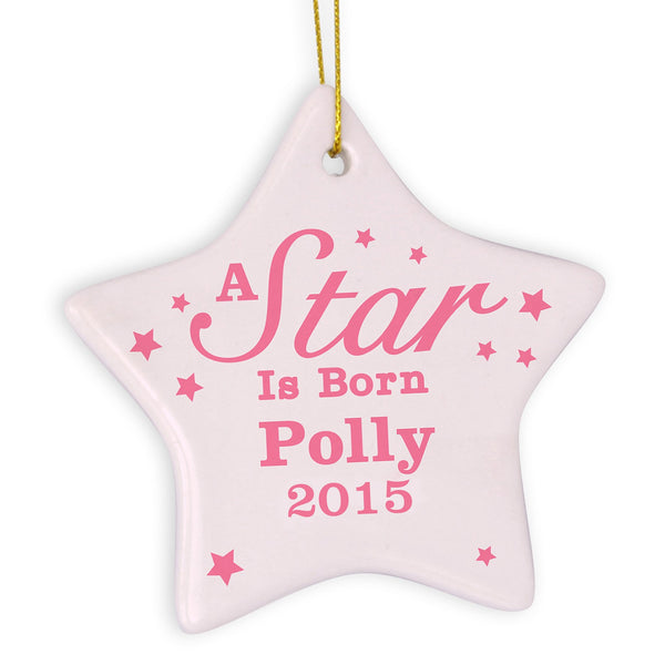 Personalised Pink 'A star Is Born' Ceramic Star Decoration