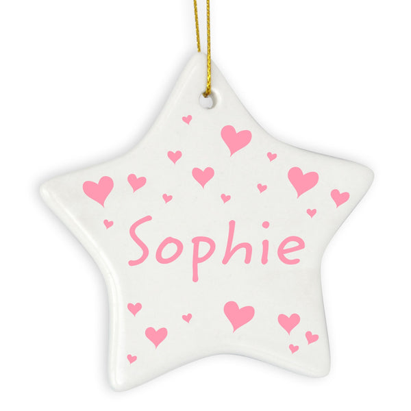 Personalised Pink Hearts Star Decoration