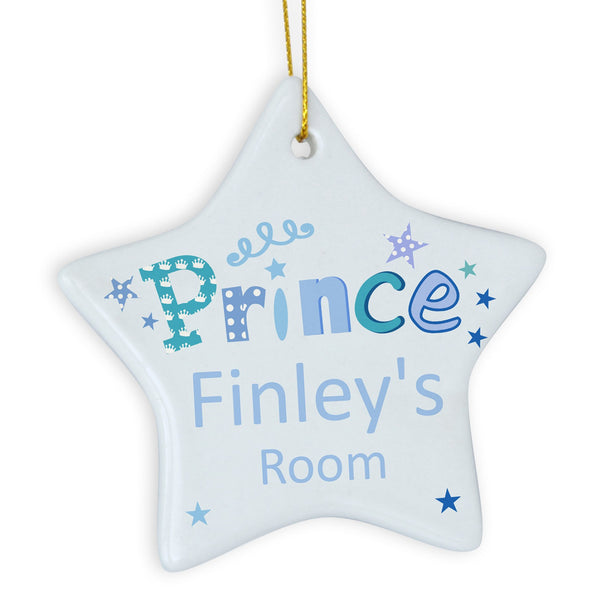 Personalised Prince Star Decoration