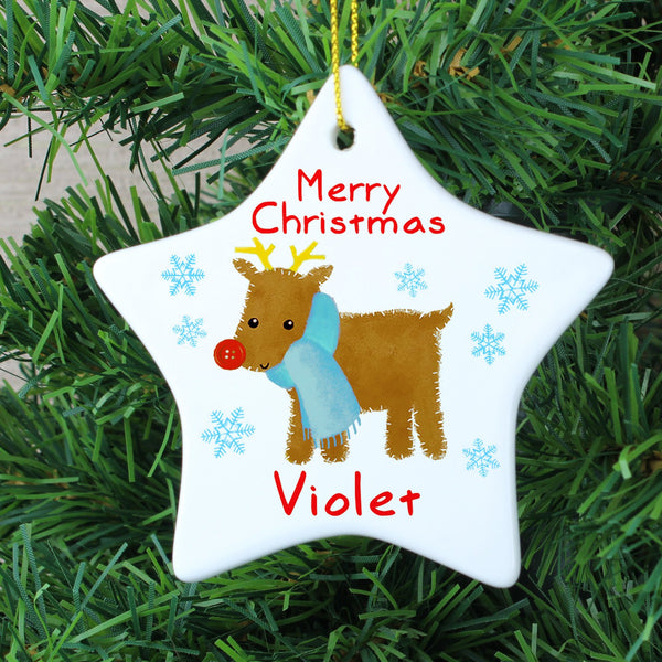 Personalised Felt Stitch Reindeer Ceramic Star Decoration
