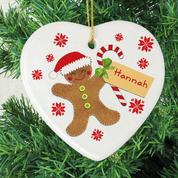 Personalised Felt Stitch Gingerbread Man Ceramic Heart
