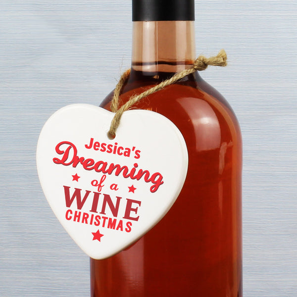 Personalised Dreaming of a Wine Christmas Ceramic Heart Decoration