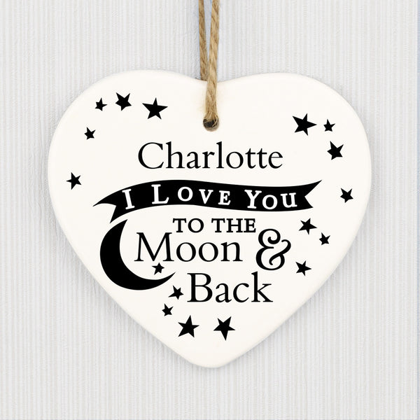 Personalised To the Moon and Back... Ceramic Heart Decoration