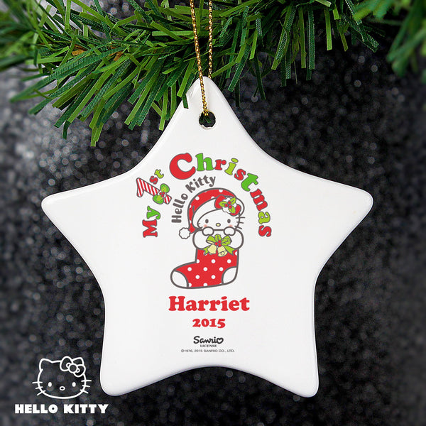 Personalised Hello Kitty My 1st Christmas Ceramic Star Decoration