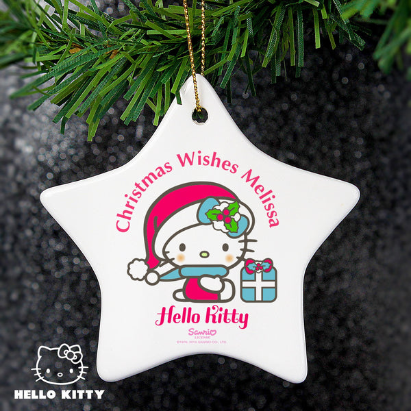 Personalised Hello Kitty Pink Christmas Ceramic Star Decoration