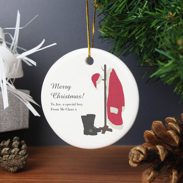 Personalised Santas Home For Christmas Round Ceramic Decoration
