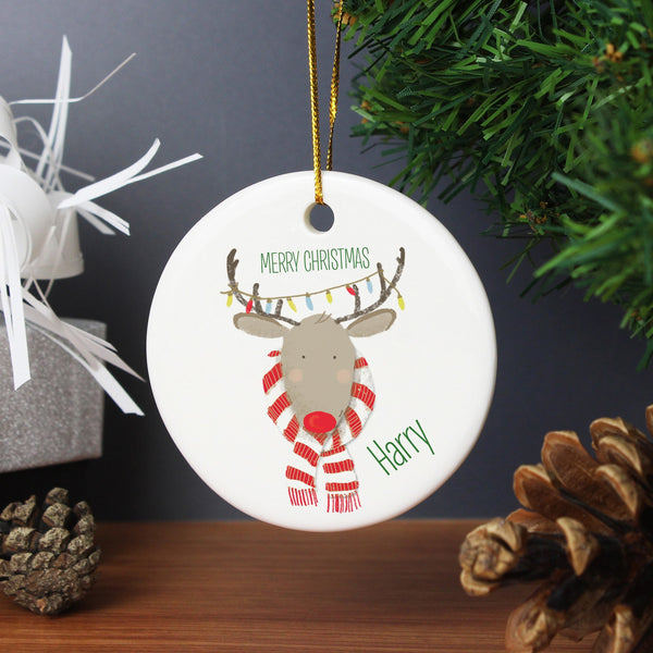 Personalised Retro Reindeer Round Ceramic Decoration