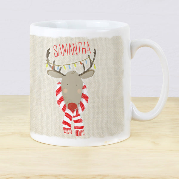 Personalised Retro Reindeer Mug