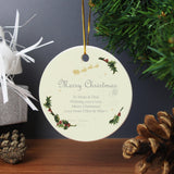 Personalised Traditional Christmas Round Ceramic Decoration