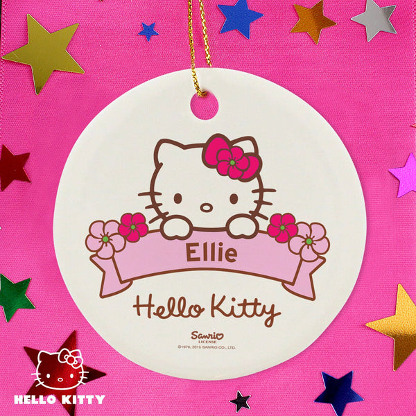 Personalised Hello Kitty Floral Round Decoration