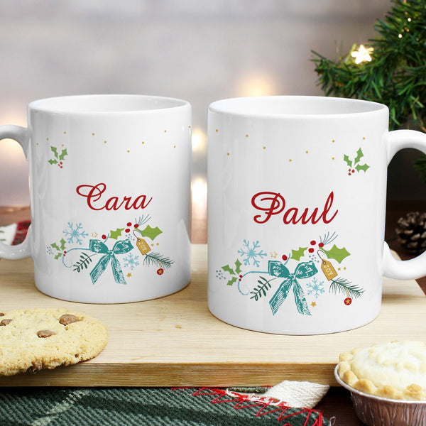 Personalised Classic Christmas Mug Set