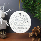 Personalised Silver Reindeer Round Ceramic Decoration