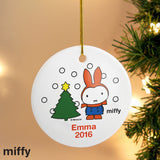 Personalised Miffy Christmas Round Ceramic Decoration
