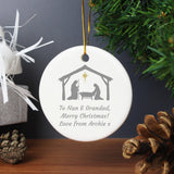 Personalised Nativity Round Ceramic Decoration