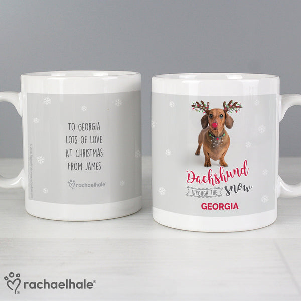 Personalised Rachael Hale Christmas Dachshund Through the Snow Mug