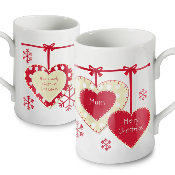Personalised Christmas Heart Slim Mug