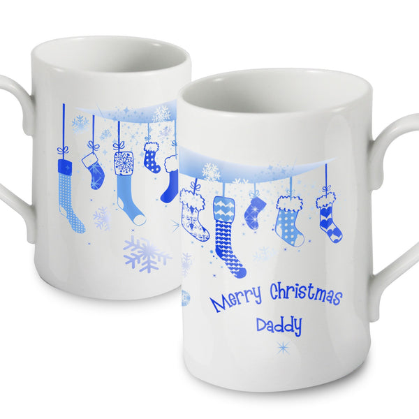 Personalised Christmas Stocking Slim Mug