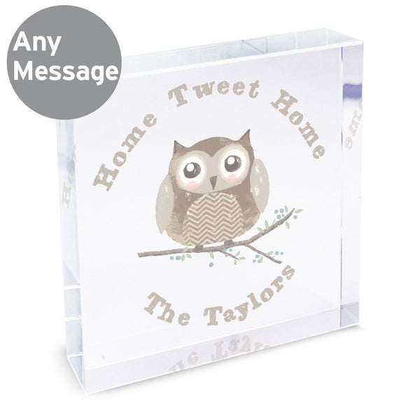Personalised Woodland Owl Large Crystal Token