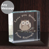 Personalised Woodland Owl Medium Crystal Tokens