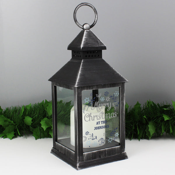 Personalised Christmas Frost Rustic Black Lantern