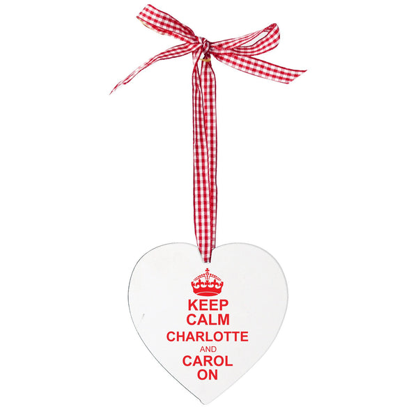 Personalised Keep Calm Design Wooden Heart Shaped Decoration